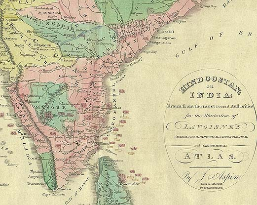 South India Map With States And Districts South India 1821 Map