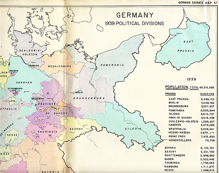 Postwar planning map of German political divisions and populations